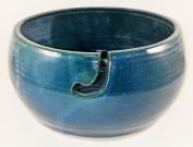 Aunt Chris' Pottery - Yarn Bowl - Teal Colour Glazed With Gloss Finish - Hand Made Clay - With Hole Shaped Like Hook To Guide The Yarn Through - Great Gift For Someone Who Knits Or Sews