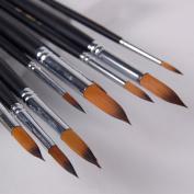 Angelduck Paintbrushes (9 Pack), Long Handle Round Brush Set 0-16#, Art Paint Brushes for Acrylic, Oil, Watercolours