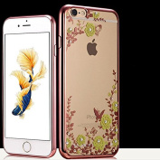 iPhone 7 Plus Case,Inspirationc [Secret Garden] Rose Gold and Yellow PC Plating Clear Shiny Cover Series for Apple iPhone 7 Plus 14cm --