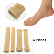 Sumifun 4Pcs Silicone Tube Toe Protectors Sleeves for Bunions Sore Corns Callus Blisters Hammer Toes, Fit on Big Toe and Little Toe (4Pcs Long Caps