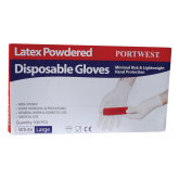 Portwest A910WHRL Powdered Latex Disposable Gloves, Large