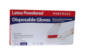Portwest A910WHRM Powdered Latex Disposable Gloves, Medium