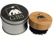 GBS Premium Compact Wood Beard Brush with Synthetic/Nylon Bristles & Travel Tin