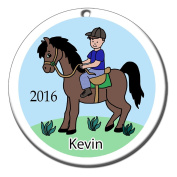 Boy on Horse Personalised Ornament - Brown Haired Boy