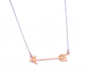 Sterling Silver 46cm Two Tone Arrow Pendant Necklace