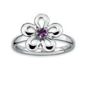 Roy Rose Jewellery Sterling Silver Stackable Expressions Amethyst Flower Ring