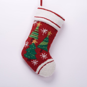 Glitzhome Christmas Tree Rug-Hook Stocking