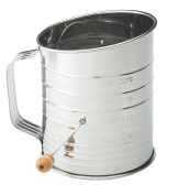 Baking 5-cup Stainless Steel Crank Flour Sifter