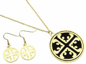 Cross Cut Out with Black Inlay Pendant Necklace and Earring Set