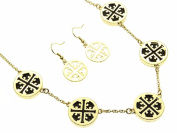 Cross Cut Out with Black Inlay Necklace and Earring Set