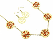 Cut Out Cross with Orange Inlay Necklace and Earring Set