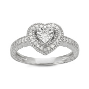 0.10 CTTW Sterling Silver White Diamond Heart Solitaire Look ring