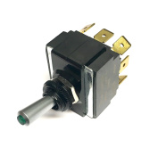 Toggle Switch ON/OFF/ON, DPDT, Lighted Green Lens