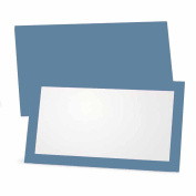 Blue Place Cards - Flat or Tent - 10 or 50 Pack - White Blank Front with Solid Colour Border - Placement Table Name Seating Stationery Party Supplies - Occasion or Dinner Event