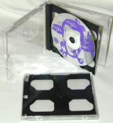 5 Double Slimline CD Jewel Boxes with Dark Grey / Black Pivot Tray #CD2R10DG (HOLDS 2 CDS IN THE SPACE OF ONE STANDARD SIZED JEWEL BOX!) by Square Deal Recordings & Supplies