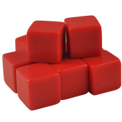 Set of 10 - 16mm Counting Cubes Blank Opaque Dice Red in Snow Organza Bag