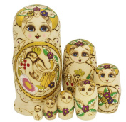 20cm Set of 7pc Traditional Classic Hand Painted Wooden Wood Matryoshka Babushka Russian Nesting Nested Stacking Wishing Doll Toy Gift - Yellow Gold Bird Pattern