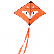 EMMAKITES Diamond Kite Mr. Fox / Little Star 80cm Single Line with Double Tails and Kite String - Easy to Fly - Kite for Kids and Adults