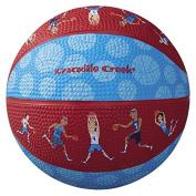 Crocodile Creek Basketball Players Patterned Kid-Sized Basketball, Blue/Red, 14cm