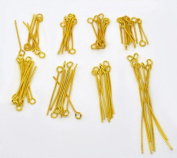 800 PC Mixed Sizes Gold Plated Eye Pins Findings Head Pins, 2.1mm Hole, 0.7mm Thick, DIY Jewellery Making