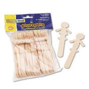 "People-Shaped Wood Craft Sticks, 5 3/"" Wood, Natural, 36/Pack"