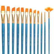 Premium Painting Brush Set-12 Piece Golden Synthetic Hair, Short Wooden Handle Artist Paint Brushes for Acrylic, Oil, Watercolour Painting