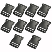 HG-X ® 15 Pcs Black Plastic 2 Inch Flat Side Release Buckles