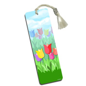 Tulips Printed Bookmark with Tassel