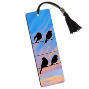 Birds Sitting on a Wire Printed Bookmark with Tassel