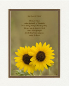 "Friend Gift with ""Bonds of Friendship Makes Us Sisters By Heart"" Poem. Sunflowers Photo, 8x10 Double Matted. Special Birthday or Christmas Gifts for Best Friend."