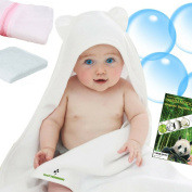 Bamboo Baby Hooded Towel Set Soft Organic Hypoallergenic With 2 Bear Ears Comes With Laundry Wash Bag and Washcloth as Gift By ISOFTBAMBOO