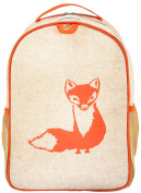 SoYoung Raw Linen Toddler Backpack, Orange Fox