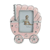 PINK BABY CARRIAGE FRAME - SILVER AND ENAMEL BABY CARRIAGE FRAME - Picture Frame