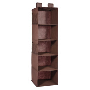 5-Shelf Hanging Closet Organiser, MaidMAX Brown Hanging Accessory Shelves for Clothes and Shoes Storage, Brown