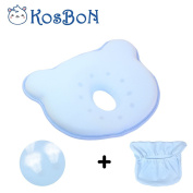 KSB 25cm Blue Soft Memory Foam Baby Pillow Head Positioner Neck Support,Prevent Flat Head Syndrome For 3 Months To 1 Year Old Infant (Bear Shape,Includes Pillow Case).
