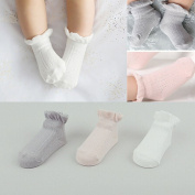 FlyingP 3Pairs Baby Anti Slip Non-Skid Socks Infant Toddler No-Show Crew Ankle Cotton Boat Socks Footsocks Sneakers for 3-24 Months Baby