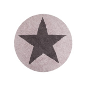Lorena Canals Reversible Star Machine Washable Nursery Rug 1.2m Round, Handmade from 100% Natural Cotton and Non-Toxic Dyes, Pink / Dark Grey