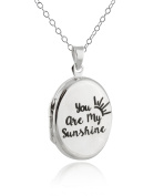 Sterling Silver Oval Engraved You Are My Sunshine Double Sided Locket Necklace, 46cm Chain
