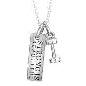 "YFN Sterling Silver ""Strong Is Beautiful"" Inspirational Letters Engraved Charm Dumbbel Pendant Necklace"