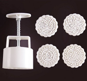 Zicome Moon Cake Mooncake Decoration Mould Mould Cookie Cutter Mould Hand Pressure 125g Flowers Round 4 Stamps