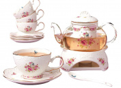 Jusalpha® Fine China Porcelain Coffee Cups Flower Series Teacup Saucer Spoon with Teapot Warmer & Filter, 16pcs in 1 set