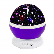 SOLMORE Star lighting Lamp 4 LED beads 360 Degree Romantic Lamp Relaxing Mood Light Projector Baby Nursery Bedroom Children Room Christmas Gift Purple