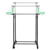 Anself Adjustable Clothes Rack 4 Castors 2 Hanging Rails
