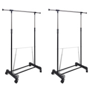 Anself 2pcs Adjustable Clothes Rack Hanging Rail