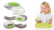 Doddl Cutlery Set Lime Green - Knife, fork and spoon set. For babies or children 12+ months old. Help teach your baby or toddler to self-feed with ease using cutlery in the right way. Ergonomic design created to be effective and educational. Dishwasher ..