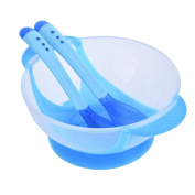 Yunt Baby Feeding Soft Silicone Suction Cup Bowl+Temperature Sensing Colour Changing Baby Training Spoon Fork Set