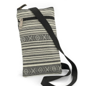 SMALL GREY & CREAM TRIBAL STRIPE SIDE CROSS SHOULDER BAG/POUCH