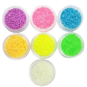 7 Pack DIY Noctilucent Stones Bead Luminous Crystals Glow In Dark Gems Decal for Nail Art Tips