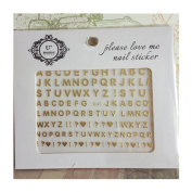 Born Pretty 1Sheet Gold Letter/Punctuation Pattern 3D Nail Stickers Adhesive Nail Art Decoration #33792