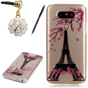 HB-Int 3 in 1 Transparent Soft Silicone Case for LG G5 Eiffel Tower Soft Back Cover Luxury Clear Shell Floral Paris Pattern Slim Lightweight Sleek Flexible TPU Pouch Frame Full Body Phone Protector Skin Bumper with Stylus Pen + Dust Plug